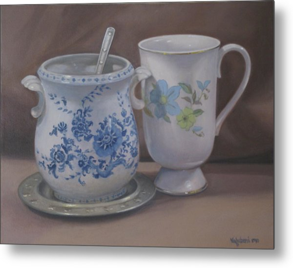 Sugarbowl And Teacup Metal Print