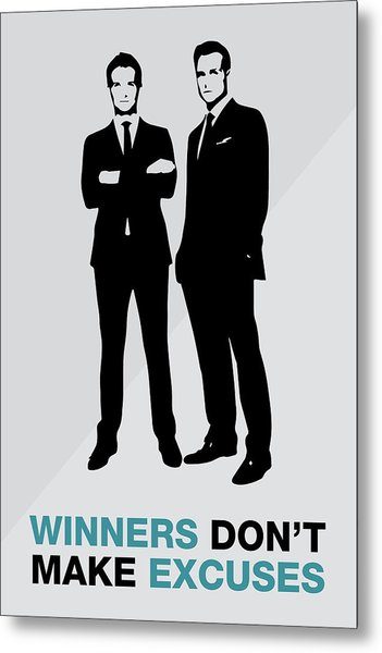 Suits Tv Show Poster Harvey Quote - Winners Don't Make Excuses Metal Print