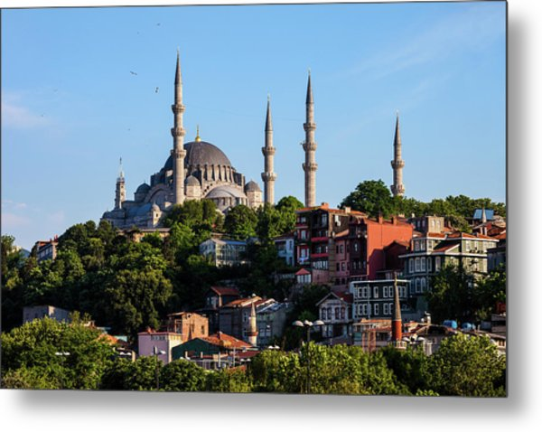 Suleymaniye Mosque And Traditional Houses In Istanbul Metal Print