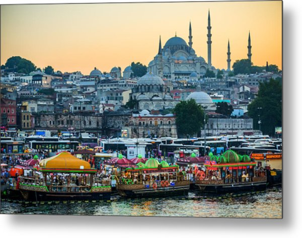 Suleymaniye Mosque At Dusk Metal Print