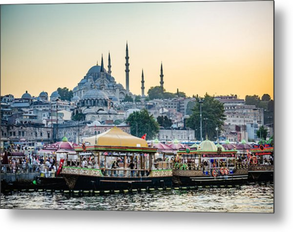 Suleymaniye Mosque At Sunset Metal Print