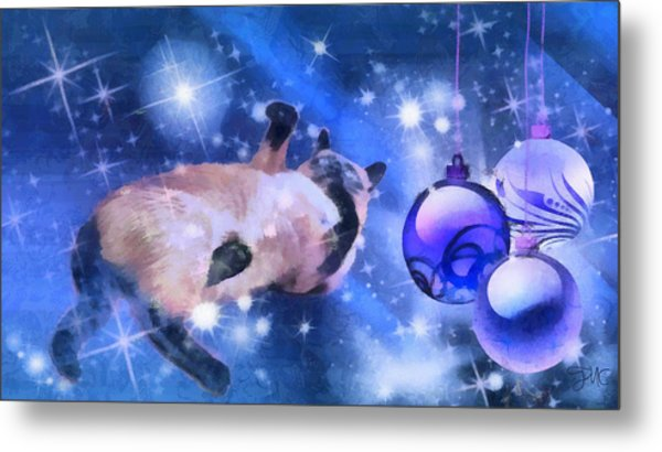 Sulley's Christmas Blues Metal Print