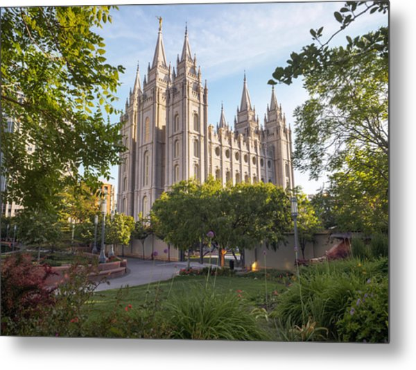 Summer At Temple Square Metal Print