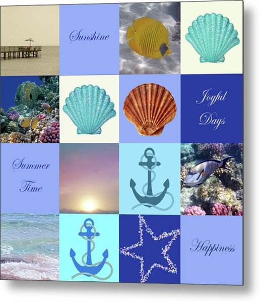 Summer Beach House Collage Metal Print