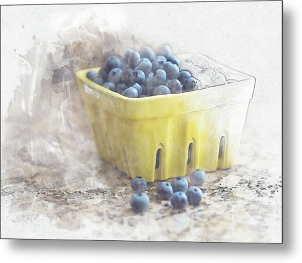 Metal Print featuring the digital art Summer Blueberries by Sue Collura