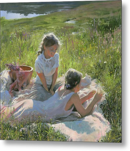 Metal Print featuring the painting Summer Day On The Grass  by Denis Chernov