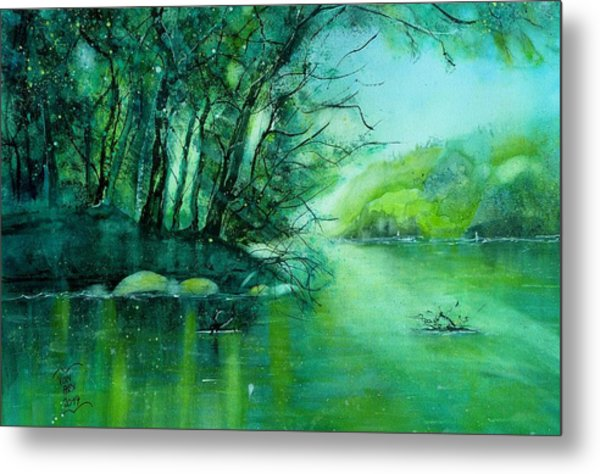 Summer Evening At The River Rhine Metal Print