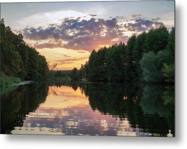 Summer Evening On Snov River. Sedniv, 2015. Metal Print