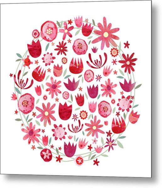 Summer Flower Circle Metal Print