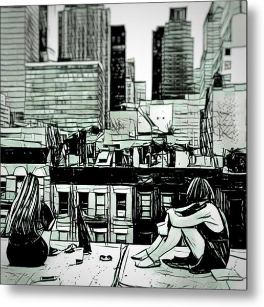 Summer Night In The City Sketch Drawing Metal Print by MendyZ