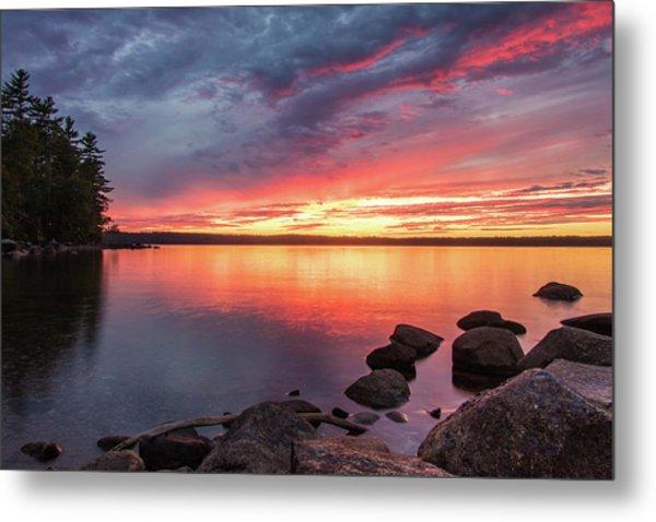Summer Sets Over Sebago Lake, Maine Metal Print