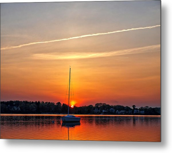 Summer Sunset At Anchor Metal Print