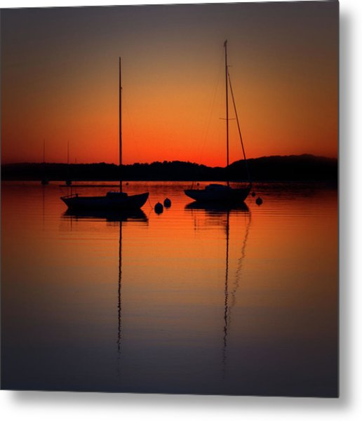 Summer Sunset Calm Anchor Metal Print