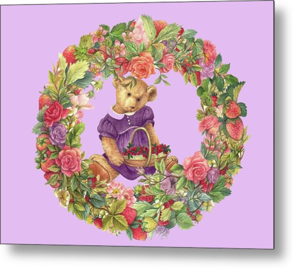 Summer Teddy Bear With Roses Metal Print
