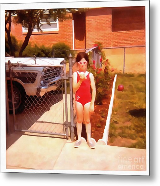 Metal Print featuring the painting Summer Time Red Bathing Suit by Edward Fielding