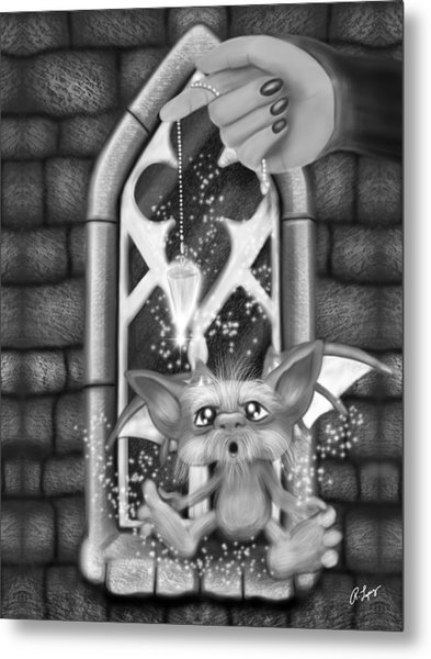 Summoned Pet - Black And White Fantasy Art Metal Print