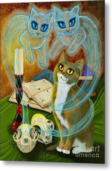 Summoning Old Friends - Ghost Cats Magic Metal Print