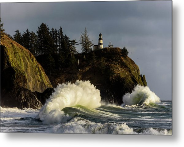 Sun And Surf With Lighthouse Metal Print