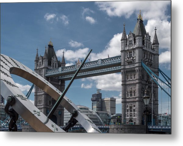Sun Clock With Tower Bridge Metal Print