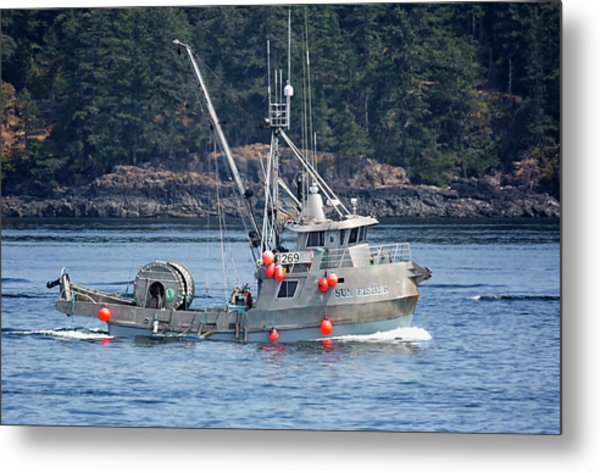 Sun Fisher Off Campbell River Metal Print
