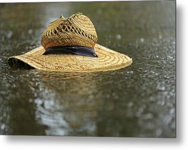 Sun Hat In The Rain Metal Print