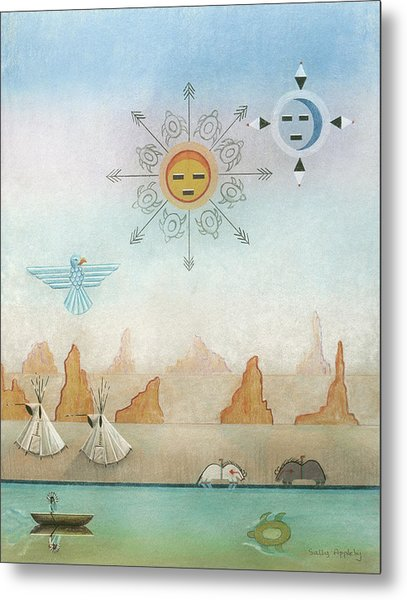 Sun Moon And Turtles Metal Print by Sally Appleby