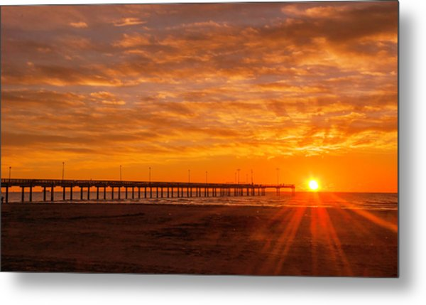 Sun Rising At Port Aransas Pier Metal Print