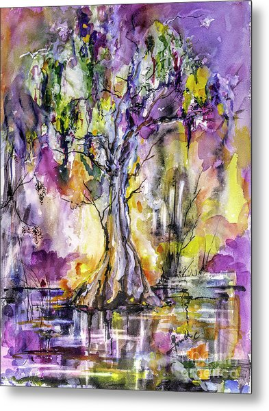 Metal Print featuring the painting Sun Sets Among The Cypress Trees by Ginette Callaway