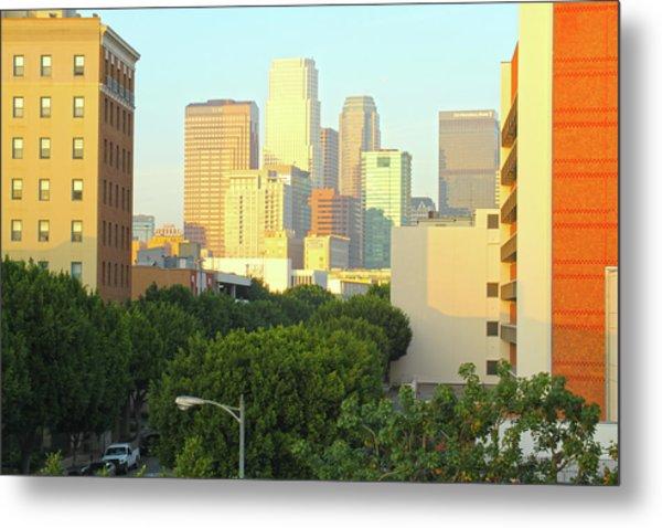Sun Sets On Downtown Los Angeles Buildings #1 Metal Print
