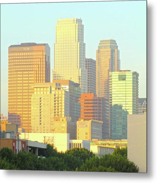 Sun Sets On Downtown Los Angeles Buildings #2 Metal Print