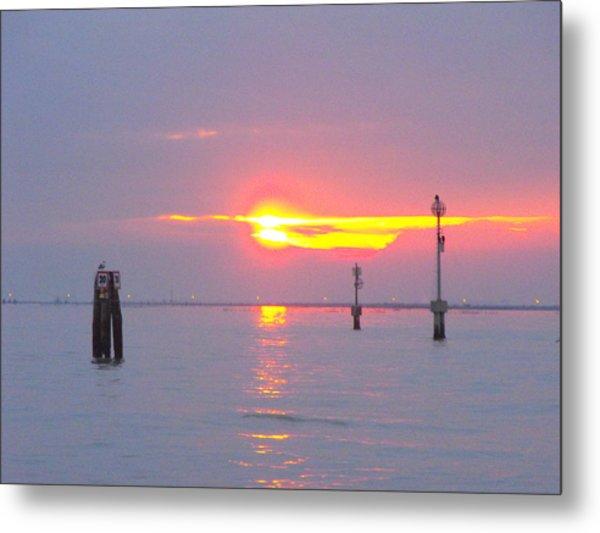 Sun Sets Over Venice II Metal Print by Viviana Puello Villa