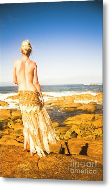 Sunbathing By The Sea Metal Print