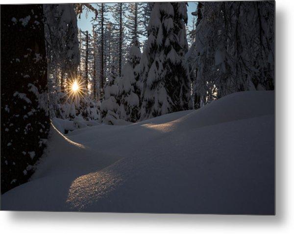 Sunburst In Winter Fairytale Forest Harz Metal Print