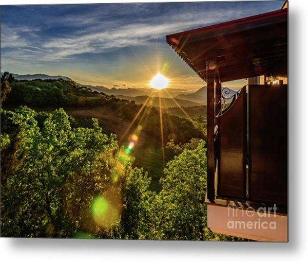 Sunburst View From Dellas Boutique Hotel Near Meteora In Kastraki, Kalambaka, Greece Metal Print