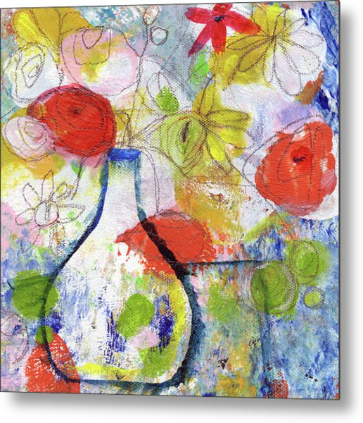 Sunday Market Flowers- Art By Linda Woods Metal Print