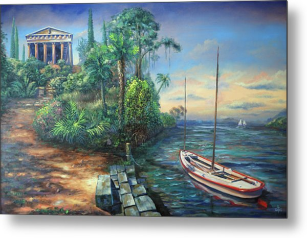 Sunday Morning Greco Floridian Twist Metal Print