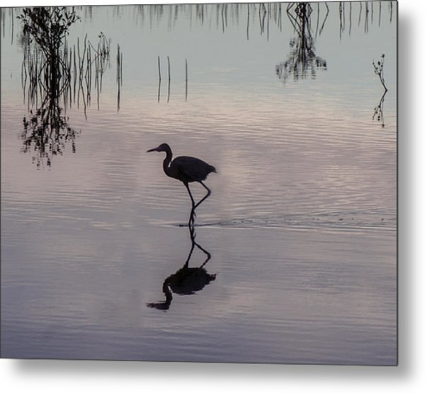 Sundown Heron Silhouette Metal Print