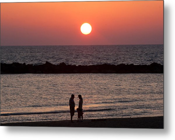 Sundown On Tel Aviv Beach Metal Print by Paco Feria