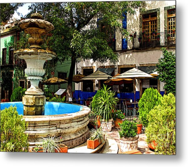 Sundrenched Plaza 3 Metal Print by Mexicolors Art Photography