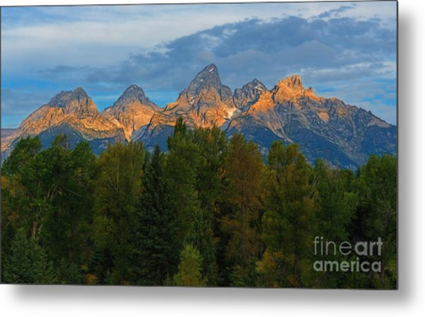 Sundrise On Grand Tetons Metal Print