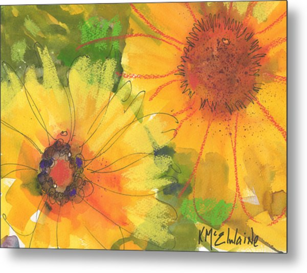 Big Sunflowers Watercolor And Pastel Painting Sf018 By Kmcelwaine Metal Print