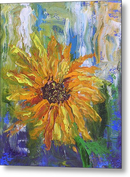 Sunflower Abstract Metal Print by Barbara Harper