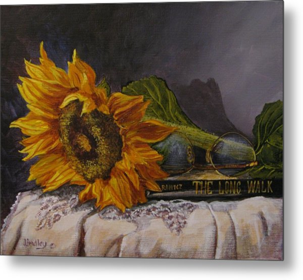 Sunflower And Book Metal Print