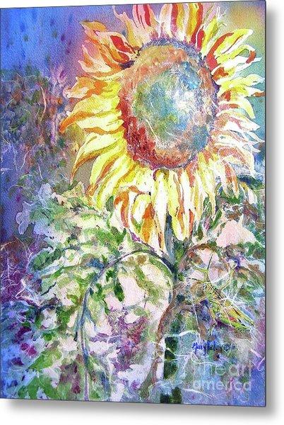 Sunflower And Grasshopper Metal Print