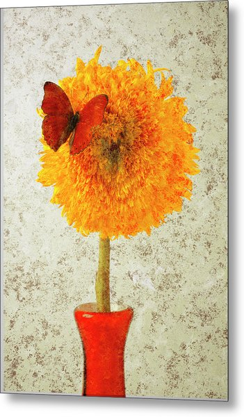 Sunflower And Red Butterfly Metal Print