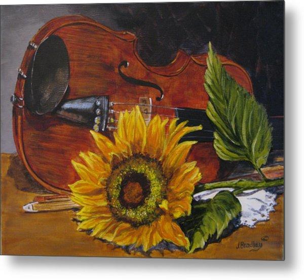 Sunflower And Violin Metal Print