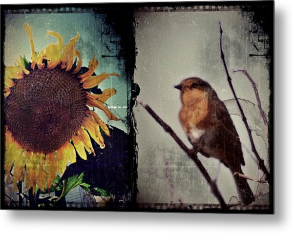 Sunflower Bird Diptych Metal Print