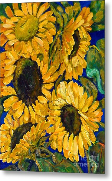 Sunflower Faces Metal Print