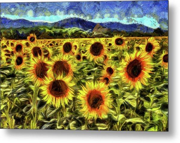 Sunflower Field Van Gogh Metal Print
