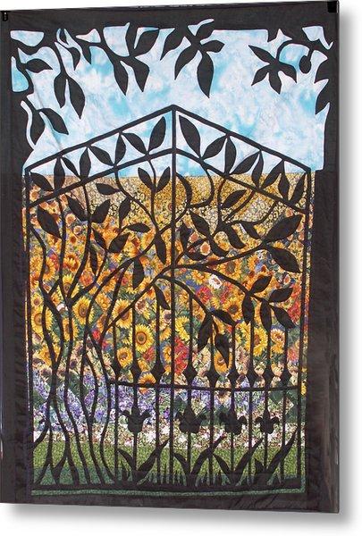 Sunflower Garden Gate Metal Print